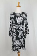 Who What Wear Belted Ruffle Dress Black Floral Bell Sleeves XS