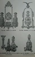 Lovely 1886 figural silver plate perfume cologne bottle stand Victorian ad page