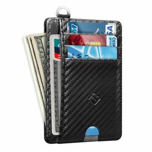 Men RFID Blocking Slim Wallet Credit Card ID Holder Thin Minimalist  Key Ring
