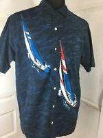 Vintage Nautica Mens Cotton Short Sleeve Button Shirt Sailboats Hong Kong Sz md
