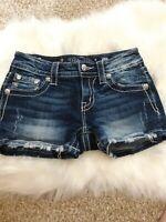 Miss Me Cuffed Destroyed Faux Flap pocket  Denim blue Jean shorts 25