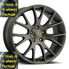 "(4) 22"" Tires Bronze Hellcat Style Wheels Fits 2002 up Dodge Ram 1500 Rims Set"