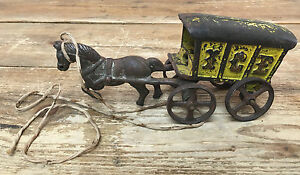 Antique Cast Iron Toy Ice Carriage Horse Drawn Carriage Missing Driver Paint