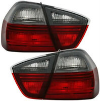 RED smoked black line tail rear lights for BMW 3 Series E90 saloon 05-08
