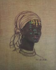 RARE LITHOGRAPH on CANVAS 20x16 AFRICAN WOMAN W.M Otto NEW OLD STOCK Crisp Color