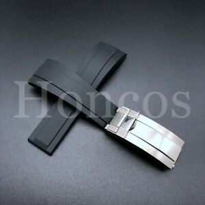 20mm BLACK Soft Rubber Strap Band for Rolex Watches 116610 16610 114060