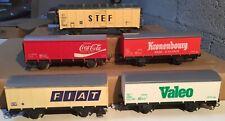 JOUEF FOBBI lot 5 wagons fourgon HO vieux stock marchandises Coca Stef Fiat