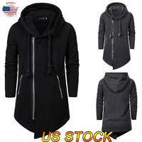 Men Hoodies Hooded Long Cardigan Sweater Sweatshirt Coat Zip Up Jacket Outwear