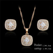 18K GOLD FILLED NECKLACE EARRINGS SQUARE SET MADE WITH  SWAROVSKI CRYSTALS S9
