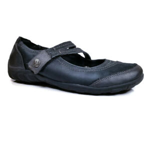 Earth Origins Rory Womens Sz 8 M Black Leather Adjustable Mary Jane Comfort Flat