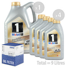 Engine Oil and Filter Service Kit 9 LITRES Mobil1 0w40 New Life Fully Syn 9L