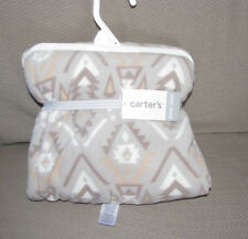 CARTERS BABY BLANKET GRAY CREAM TAN SHERPA FLEECE TRIBAL SOUTHWEST PRINT NEW