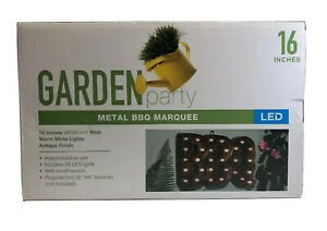 "Garden Party 16"" Metal BBQ Marquee 29 LED Light Sign On/Off Switch Batteries Req"