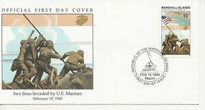 50th Ann WWII Comm/FDC - Marshall Isles - Iwo Jima Invaded by US  -1995 (2449)Z