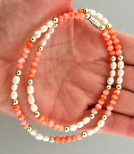 Vintage Pink Coral Bead Fresh Water Pearl Necklace Strand