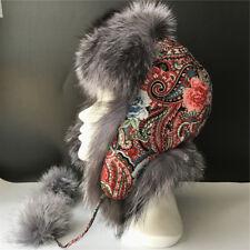 Women Real Silver Fox Fur Leather Hat Cap Warm Russia Trapper Earflap Ski Hat