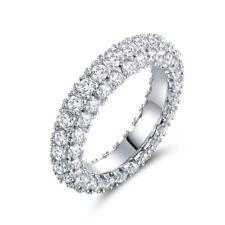 18K White Gold & Italian-Cut Cz 3 Row Eternity Ring