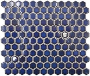Ceramic Mosaic Hexagon Cobalt Blue Shiny Mosaic Tiles Wall Mirror Tiles