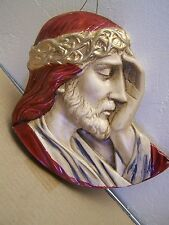"Plaster Jesus Head Wall Hanging ""Forgive them Father..."" - Mexico"