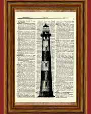 Vintage Lighthouse Dictionary Art Print Picture Ocean Poster Nautical B&W