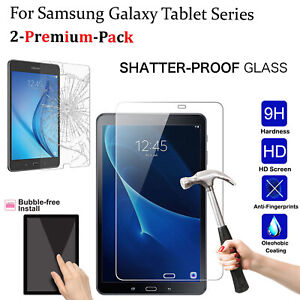 2 PACK Tempered Glass Clear HD Screen Protector For Samsung Galaxy Tab A, TAB S2
