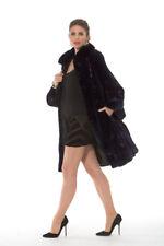Genuine Sheared Mink Fur Swing Coat for Women Navy - Swing in Mink