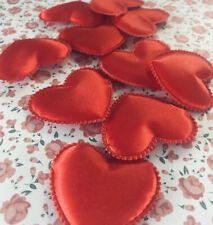 10 X Large Padded Red Heart Appliqués 4x4.5cm