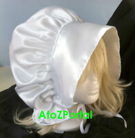 Satin White Victorian Edwardian Adult Baby Fancy Dress Bonnet Hat Sissy Maid