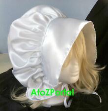 Satin White Victorian Edwardian Adult Baby Fancy Dress Bonnet Hat Sissy Maid