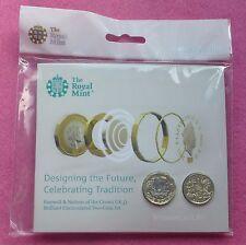 2017 despedida & Naciones de la corona de Reino Unido £ 1 BU conjunto de dos monedas-Sellado