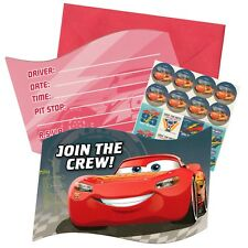 CARS 3 BIRTHDAY PARTY INVITATIONS INVITES PACK OF 8 INVITES, STICKERS & MORE