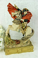 Italian Capodimonte marked Napoleon on horse figurine statue 1970