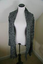 Go Fish clothing Womens Cardigan Sweater Small S Black White Fringe Long sleeve