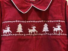 Royal Child Baby Boy Christmas Smocked Embroidered Red Longall Jon Jon 6 month
