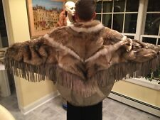 Coyote & Fox Fur Snakeskin Embossed Leather Bomber Jacket X-Large Dolman Fringe