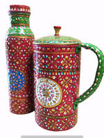 Pure Copper New Handmade Natural Beautiful Printed Water Pitcher Jug + 1 Bottle