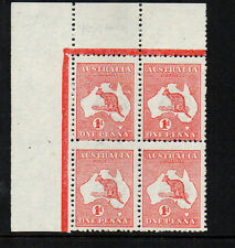 AUSTRALIA 1913 1d  SG2 FINE UNMOUNTED/LIGHTLY MOUNTED BLOCK 'R' FOR 'P' TOP LEFT