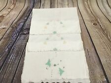 New listing 3 Vintage Ivory Floral Embroidered Appliquéd Scalloped Tea Towels Tray Cloth
