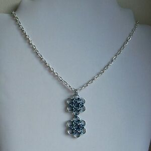 New Blue & Silver Japanese Weave Chain Maille Silver Plated Chain Necklace