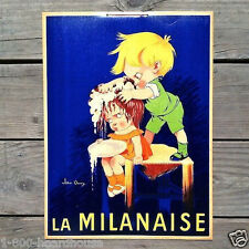 Original FRENCH LA MILANAISE SHAMPOO Barber Cardboard Advertising Sign 1950s
