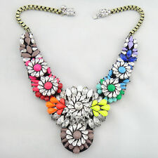 New Design Lady Rainbow Crystal Clavicle Chain Bib Statement necklace Collar Hot