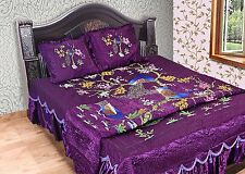 QUILT KING SIZE BEDCOVER PEACOCK DESIGN SILK PURPLE BED SHEET WITH 2PILLOW CASE