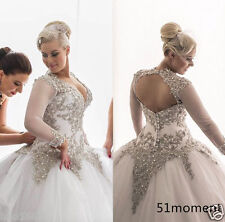 Plus Size Sliver Lace Long Sleeve Wedding Dresses Ball Gown Bridal Gowns Custom