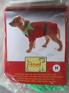 """Casual Canine Santa's Elf Suit for dogs, size M (13""""-16""""), Christmas Costume New"""