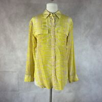 Equipment Yellow Animal Print Long Sleeve Button Down Silk Blouse Size XS