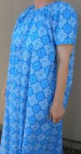 Ladies Nightgown cotton turquoise blue floral L 14 16 flowing modest long