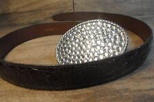 Vintage Alligator Skin Belt w Cowgirl Rhinestone Usa Buckle *Worldwide Shipping*