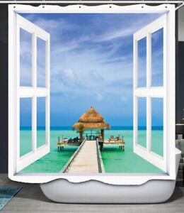 Tropical Oasis Shower Curtain Open Window Door to Dock Vacation Ocean Beach Hut