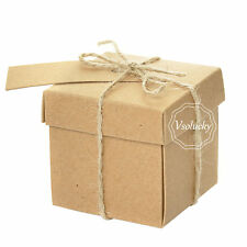 50pcs Wedding Favors Candy Boxes with Lid Rustic Kraft Brown Gifts Box Decor