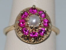 10k Gold Ring with Pearl and Pink Tourmaline in Flower Pattern
